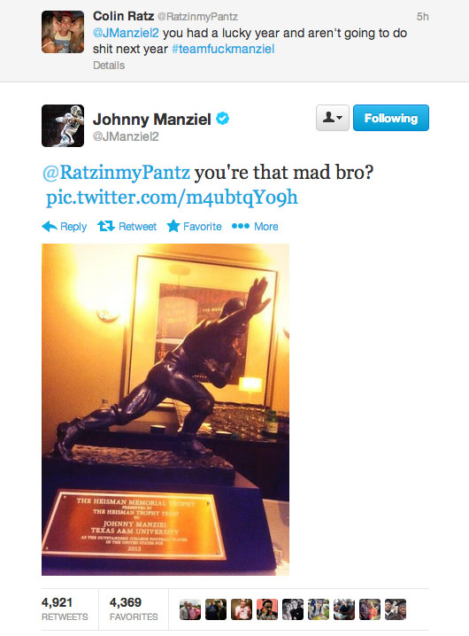 johnny football disses hater on twitter