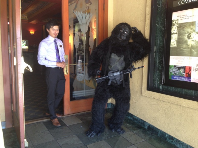 ape with gun at the vista